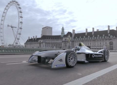 News video: Formula E Cars Race Across Westminster Bridge